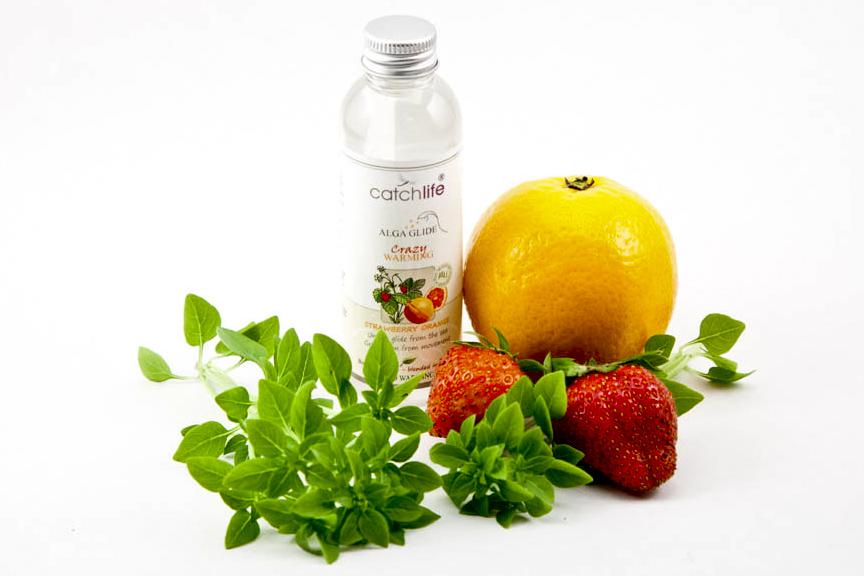 Lubricante vegano y orgánico Crazy de fresa y naranja con algas rojas