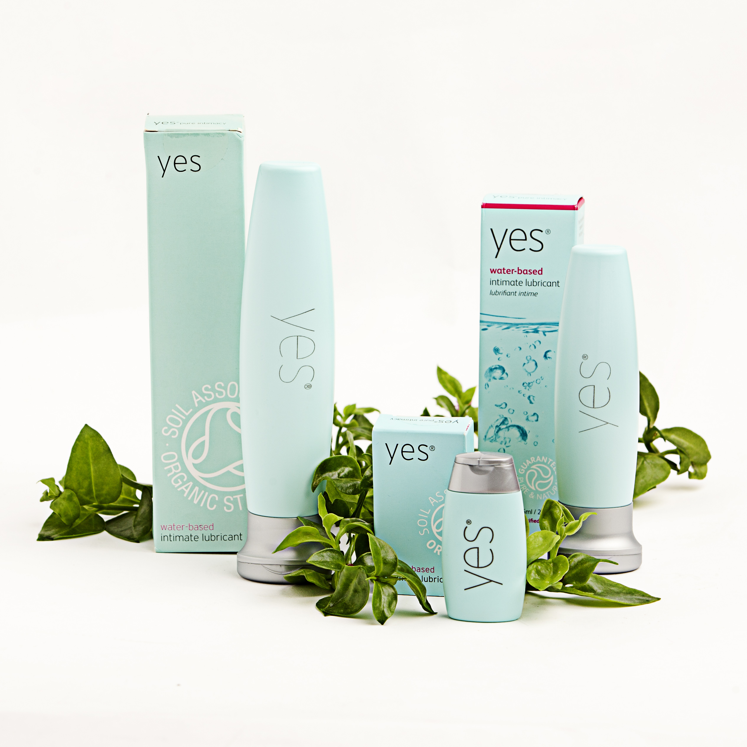 Diferentes tamaños de YES 25 ml, 75 ml, 125 ml, lubricante ecológico y vegano