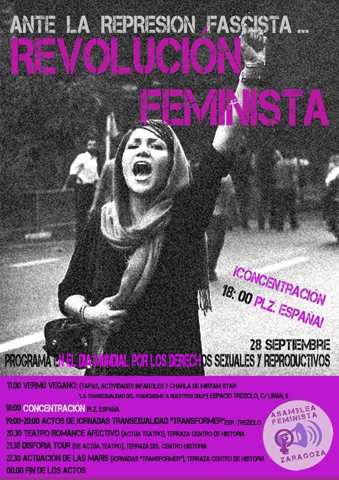 Concentración feminista por los derechos sexuales y reproductivos en Zaragoza el 28 de septiembre del 2013