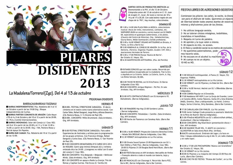 pilares disidentes 2013, Barrio de la madalena, Zaragoza