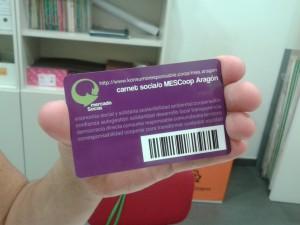 Carnet de socia de Mercado Social de Aragón