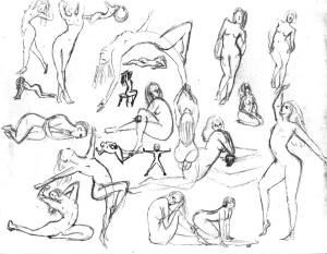 dibujo mujeres desnudas